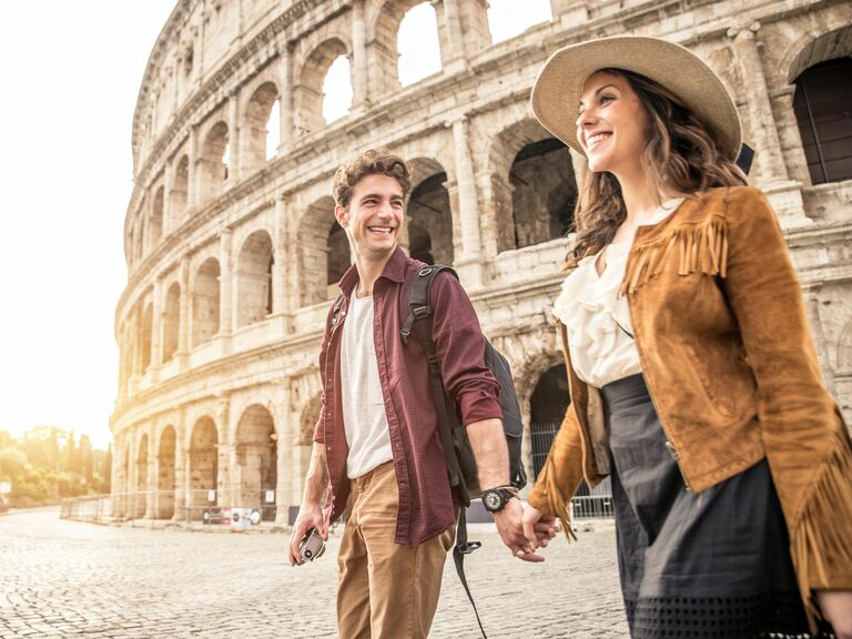 young couple traveling in Rome, Italy