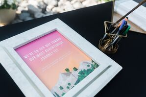 Modern Guest Book with Graphic Desert Illustration
