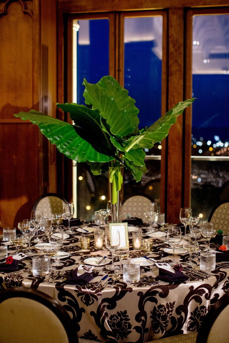 Large elephant ear leaves added a dramatic statement to the tablescapes.