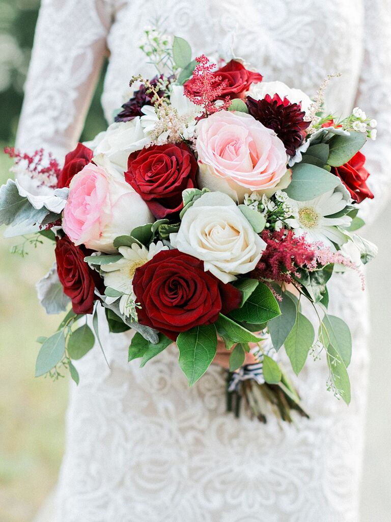 15 fall wedding bouquet ideas and which flowers theyre made with daises and red and pink roses mightylinksfo