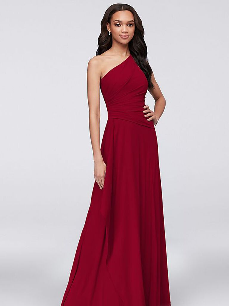 Long red affordable bridesmaid dress