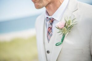 Pink Rose and Thistle Boutonniere