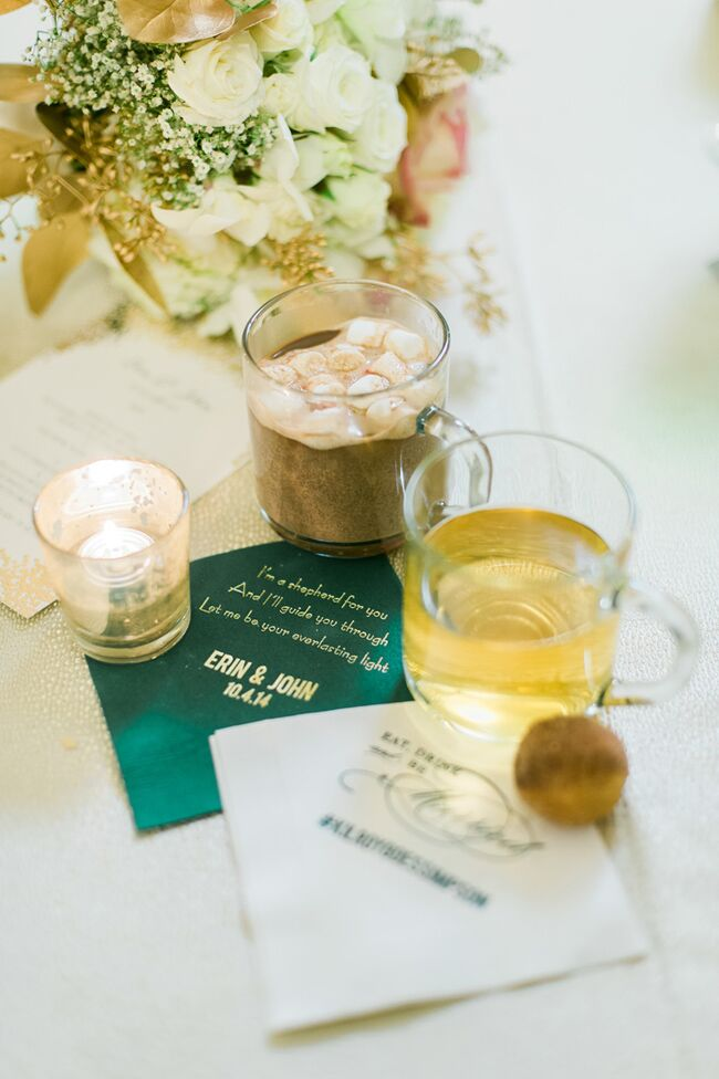 Hot chocolate and cider with custom napkins
