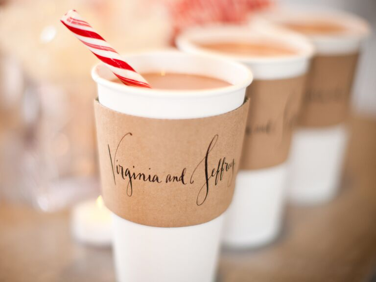 Hot chocolate and peppermint stick stirrers for wedding ceremony guests