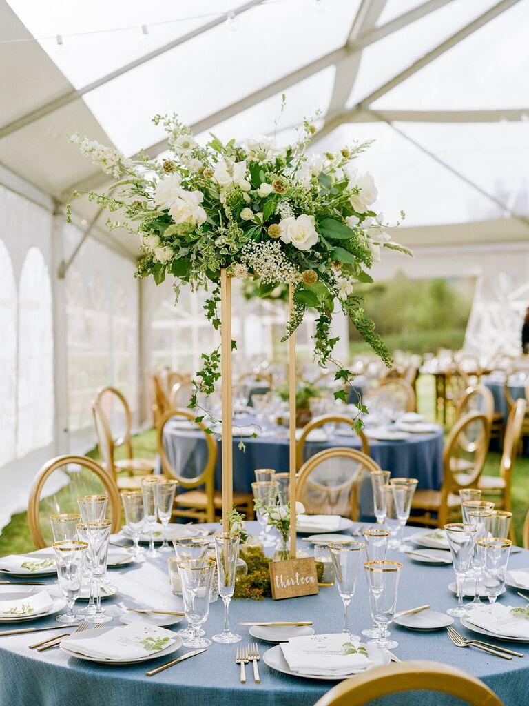 spring wedding centerpiece tall white arrangements