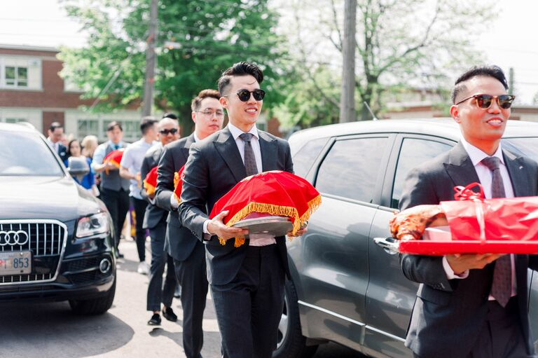 Processional of gifts during Vietnamese wedding