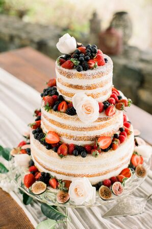 Naked Wedding Cake with Berries and Roses