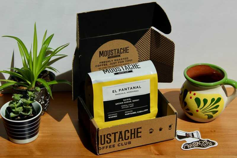 delivery box featuring beans from moustache coffee club