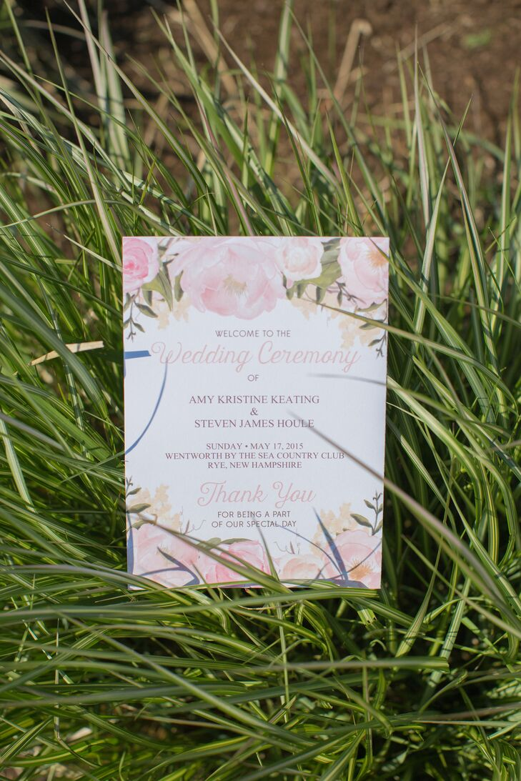 Romantic Pink Floral Ceremony Programs