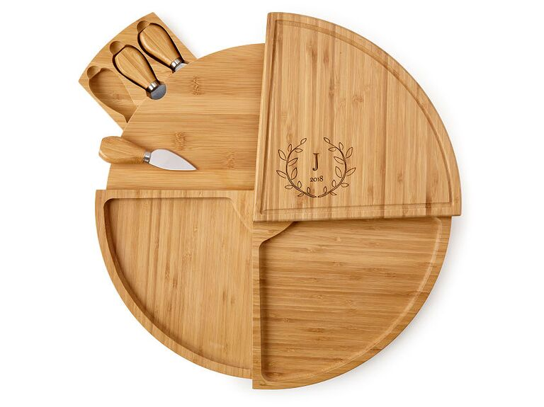 Wooden swivel cheese board 30th anniversary gift