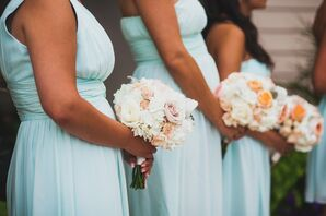 Pastel Rose and Hydrangea Bridesmaid Bouquets