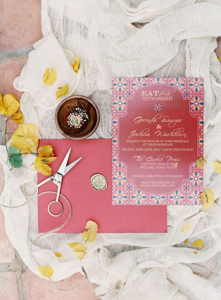 Red Spanish Tile Inspired Wedding Invitations