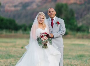 Using the Colorado National Monument as their backdrop, Kenyon Hayward (24 and an insurance agent) and Ryan Tasker (24 and a mortgage lender) wed in i
