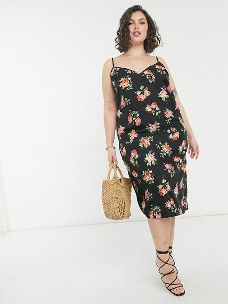 midi cami slip dress in black based floral print