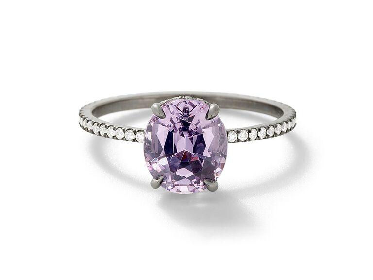 Lavender engagement ring on blackened white gold band