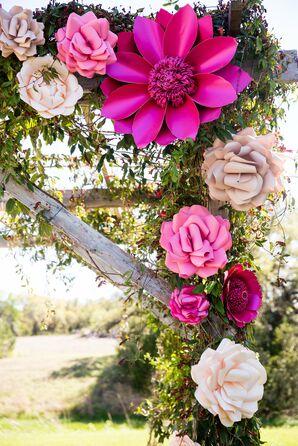 Fuchsia and Pink Paper Flower Mandap