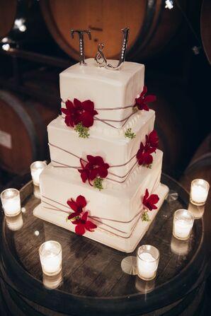 Ivory Wedding Cake, Red Cake Flowers