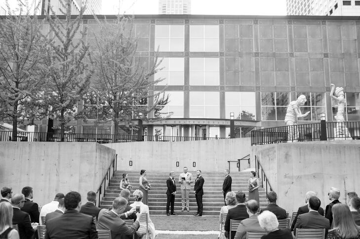 Adam and Justin exchanged vows on the steps of the Museum of Contemporary Art in Chicago, Illinois, while 75 guests looked on.
