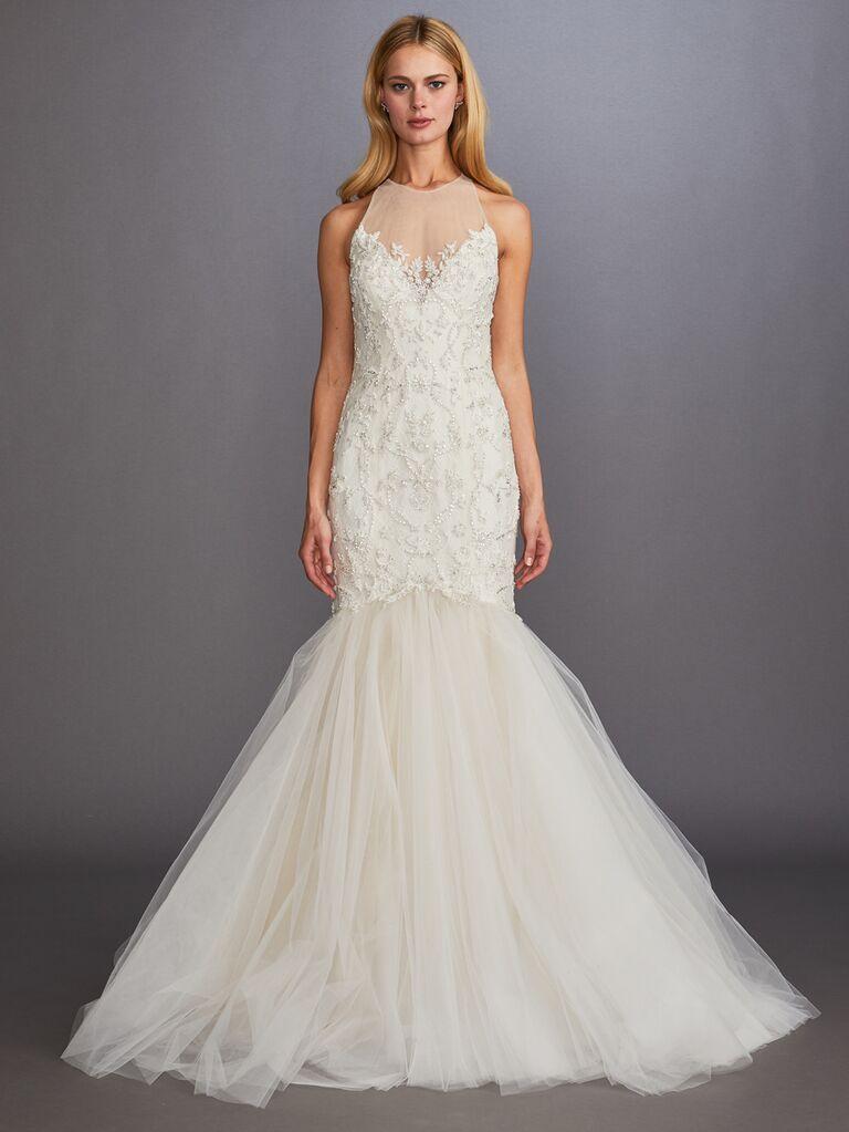 Allison Webb Fall 2019 Bridal Collection fit-and-flare embellished wedding dress