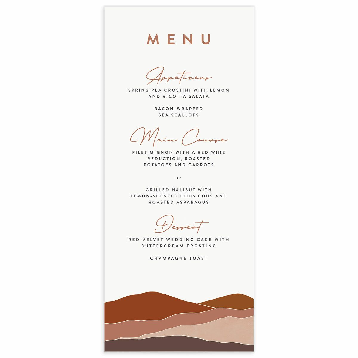 A Menu from the Abstract Hills Collection