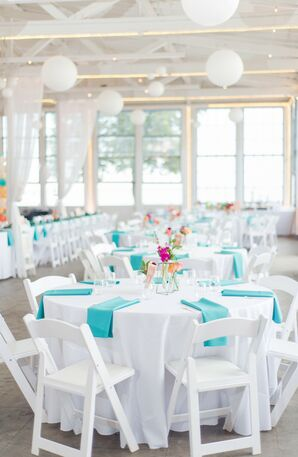 Teal-and-White Reception Decor at Lighthouse Point Park in New Haven, Connecticut
