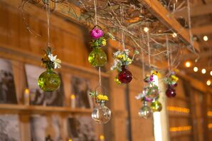 Colorful Hanging Glass Bauble Bud Vases