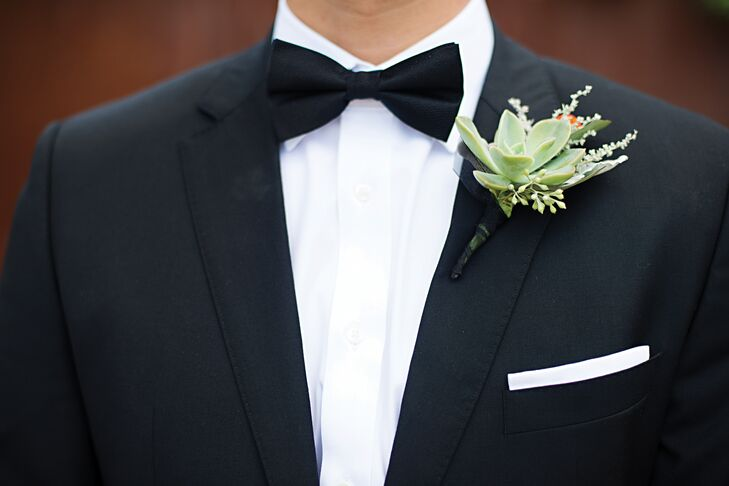 Green Succulent and Seeded Eucalyptus Boutonniere