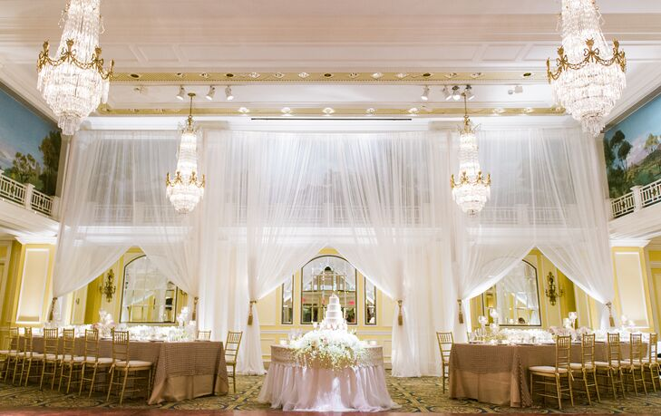The grand ballroom at the Willard InterContinental was beautifully draped with sheer white linens for the reception. The draping added heigh and dimension to the space, and it perfectly coordinated with the chandeliers and decor.