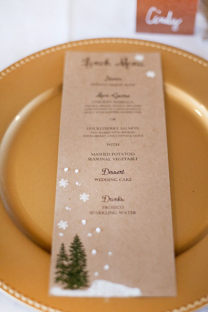 DIY Rustic, Winter-Inspired Brown Paper Menu Cards
