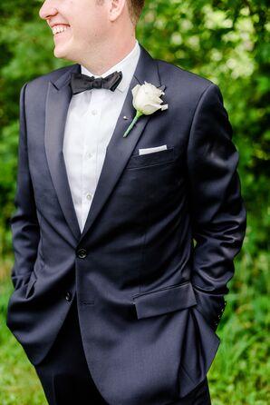 Navy Wedding Tuxedo and Ivory Rose Boutonniere