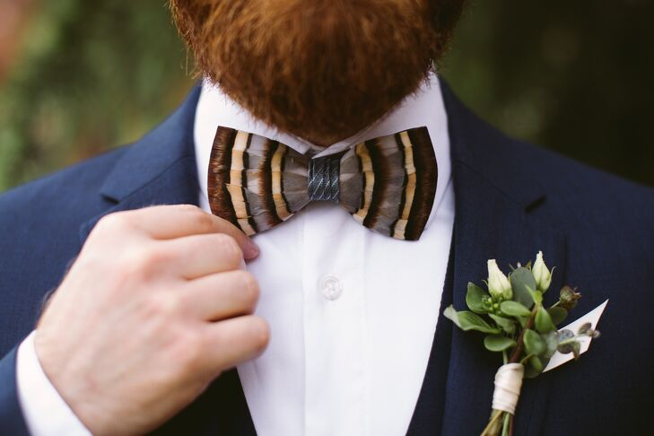 Vintage Striped Bow Tie and Greenery Boutonniere