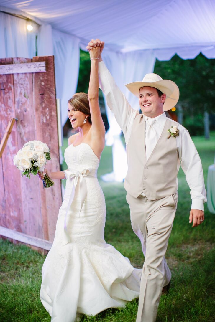 Flanking the table and the entrance to the reception were two vintage barn doors, adding to the rustic vibe of the space.