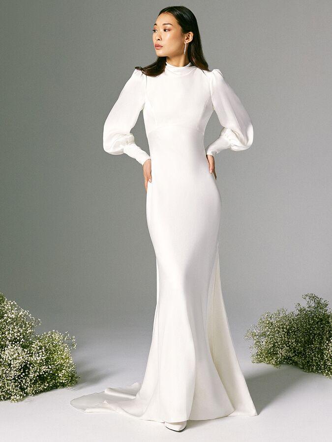 Savannah Miller wedding dress with billowing long sleeve
