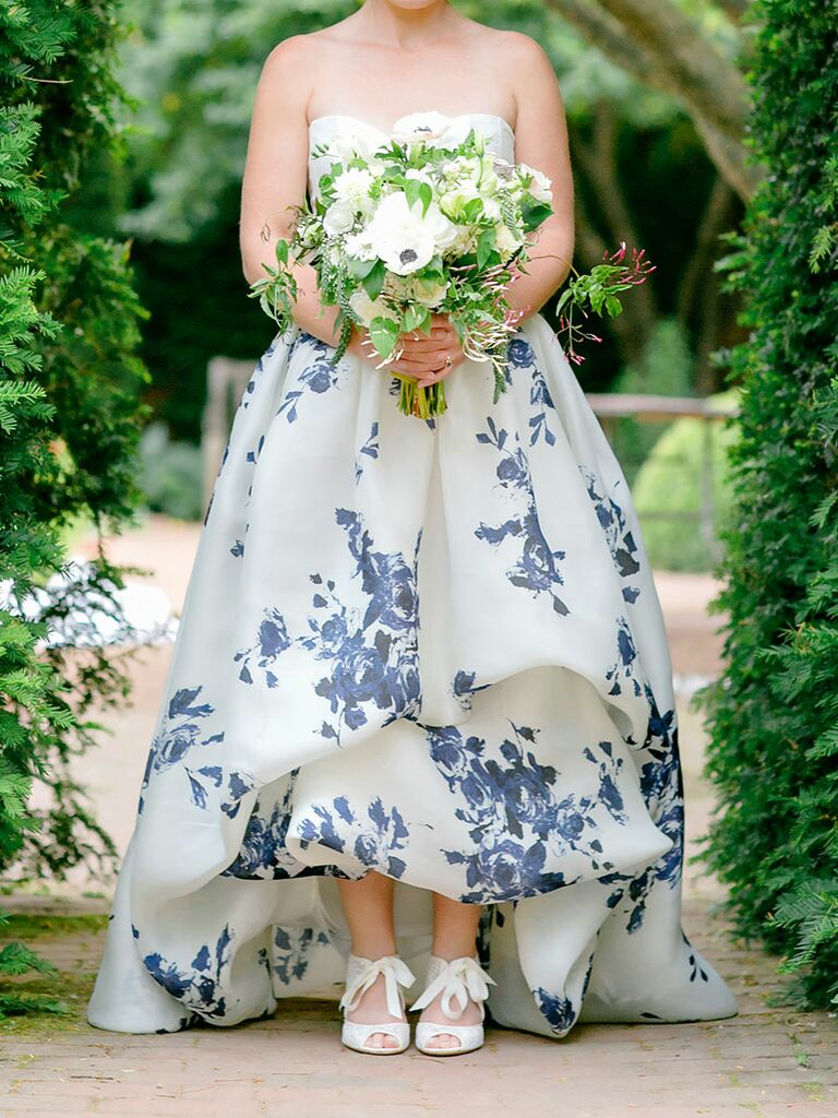 Bride in blue and white wedding dress