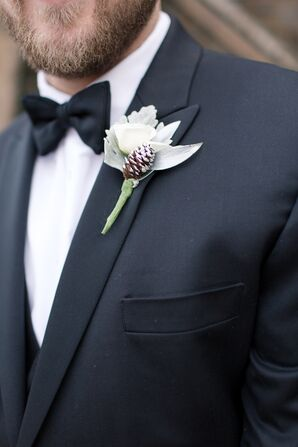 Rose, Dusty Miller and Pine Cone Boutonniere