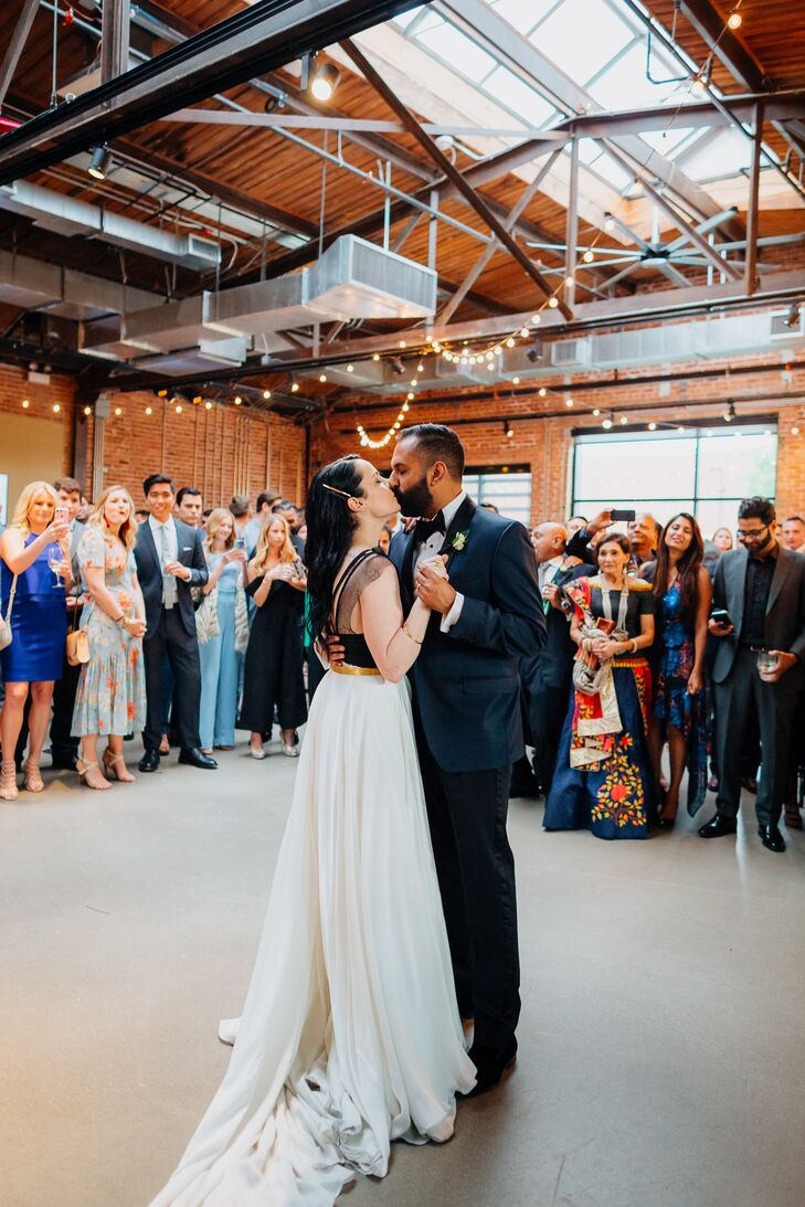 Elegant Bride and Groom Sharing First Dance