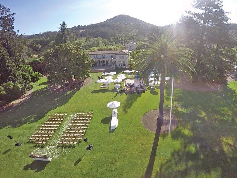 Bird's eye view drone wedding photography