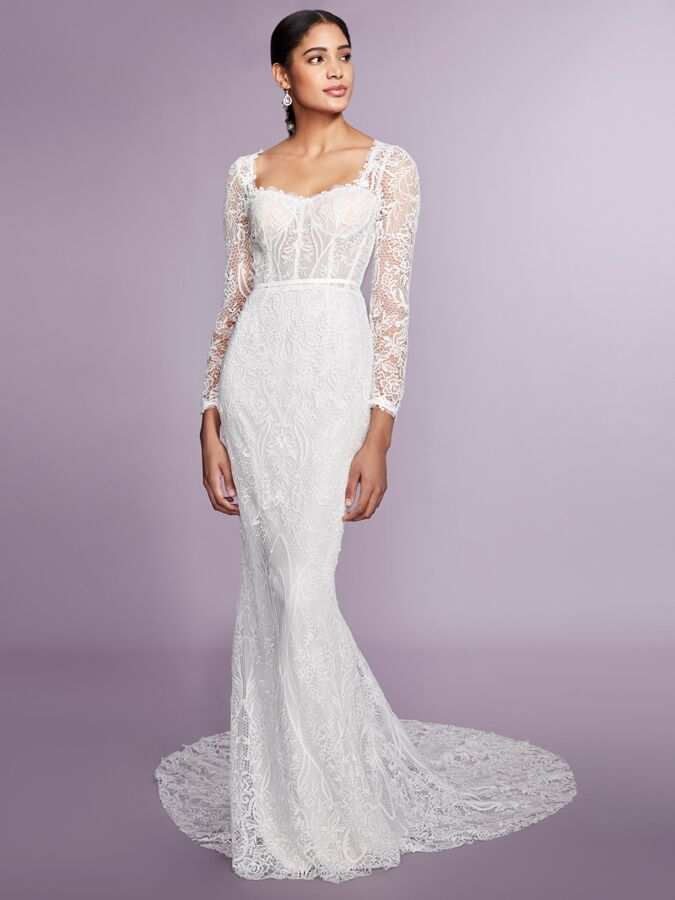 Marchesa Notte long sleeve lace fit-to-flare wedding dress