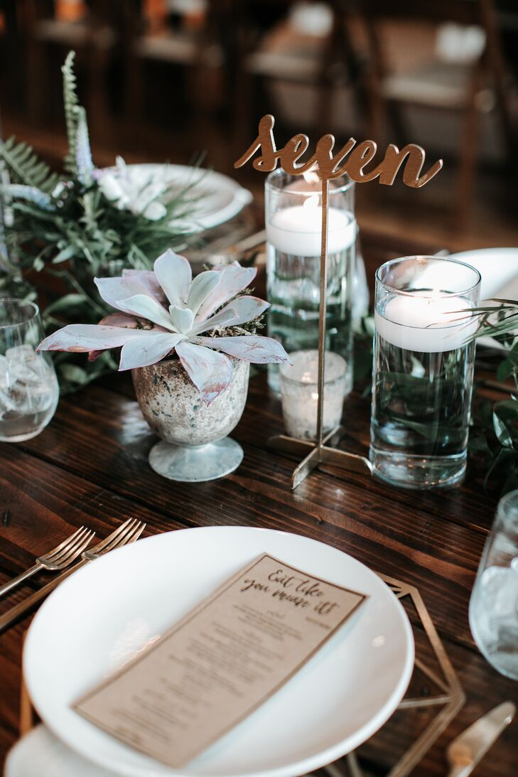 Eclectic Tablescape With Gold Table Number And Succulent Centerpiece