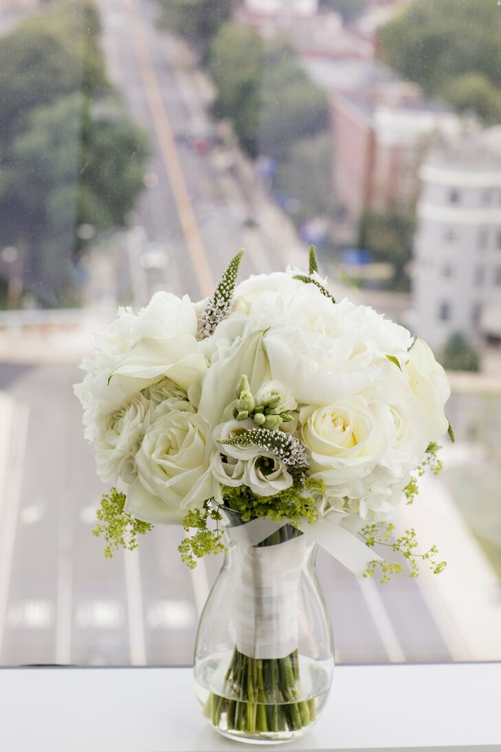 All-White Bouquet at Penthouse Wedding in Boston