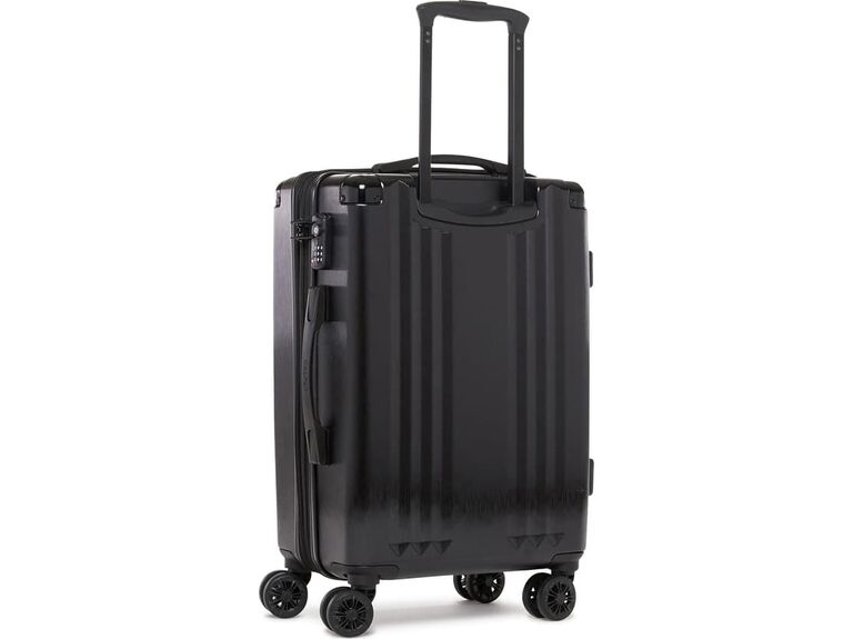 Black spinner carry-on suitcase