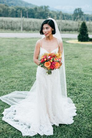 Classic Bride with Bright Bouquet