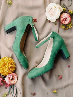 Green Suede Ankle-Strap Heels