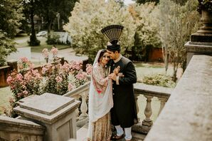 Bride and Groom in Traditional Pakistani Wedding Attire