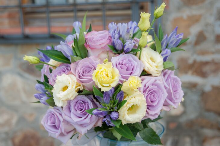 Purple Yellow And Ivory Bridal Bouquet
