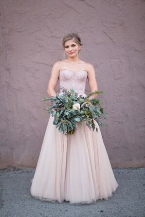 Modern Blush Dress With Tulle Skirt