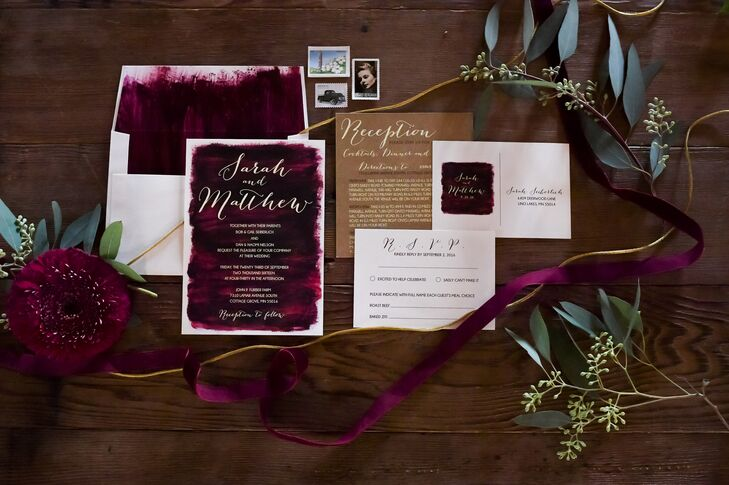 "Sarah knew she wanted maroon bridesmaid dresses and planned the color scheme around that, using Pinterest to search ""Design Seeds."" From there, she was drawn to a feathered spectrum palette. ""We wanted to embrace all autumn colors,"" Sarah says."