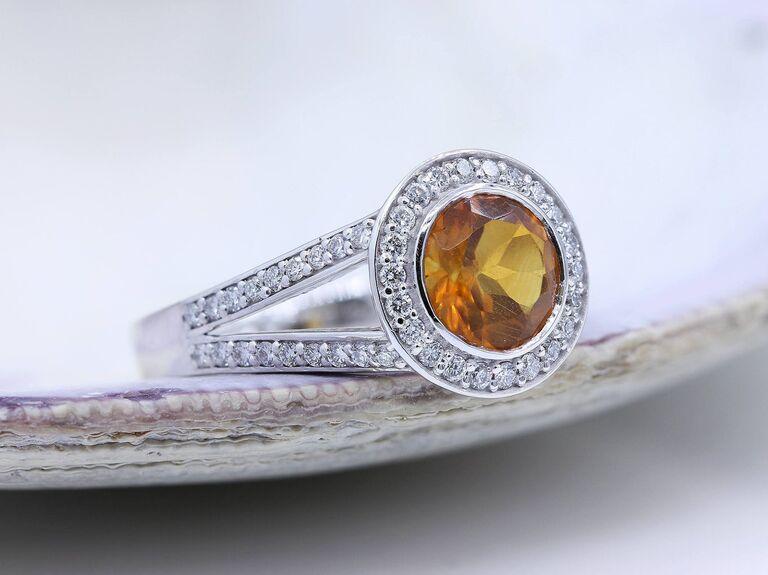 round cut citrine engagement ring