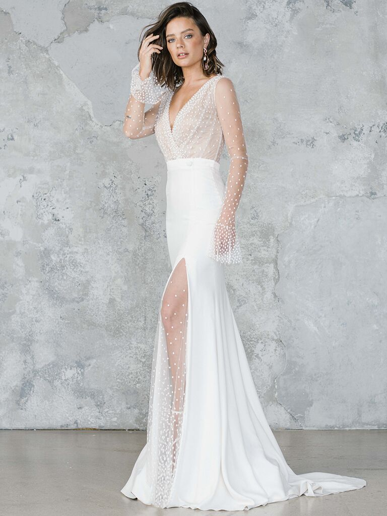 Fitted dress with beaded sheer bodice and slit