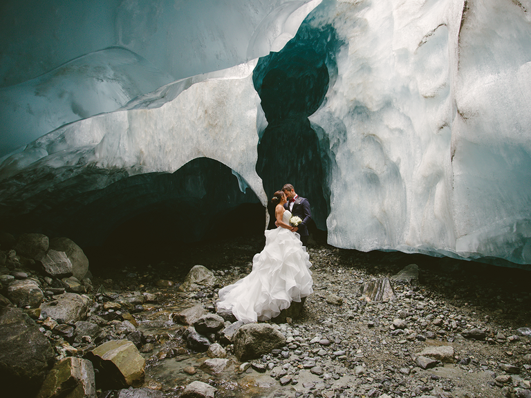 Bride and groom wedding in Canadian ice caves